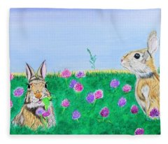 Bunnies In Clover Fleece Blanket