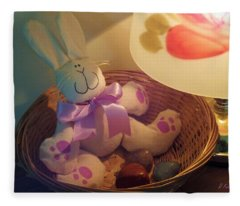 Bunny In A Basket Fleece Blanket