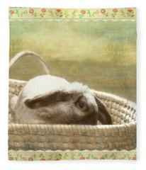 Bunny In Easter Basket Fleece Blanket