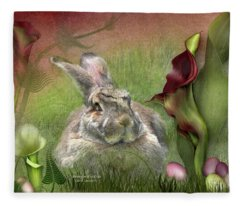 Easter Lily Mixed Media Fleece Blankets