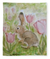 Bunny In The Tulips Fleece Blanket
