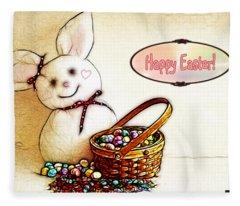 Bunny N Eggs Card Fleece Blanket