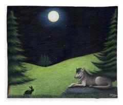 Bunny Visits Wolf Fleece Blanket