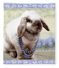 Bunny Wears Beads Fleece Blanket