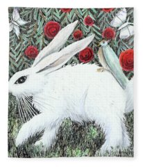 Bunny With Hitchhiker Fleece Blanket