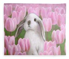Bunny With Tulips Fleece Blanket