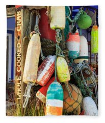 Buoys At The Crab Shack Fleece Blanket