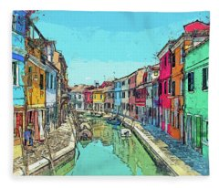 Burano Sketch Fleece Blanket