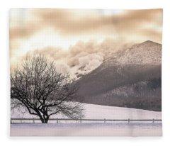 Burke Mountain And Apple Tree Fleece Blanket