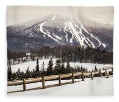 Burke Mountain And Fence Fleece Blanket