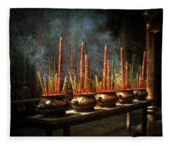 Burning Incense Fleece Blanket