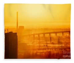 Burning Sunset Through Smog Fleece Blanket