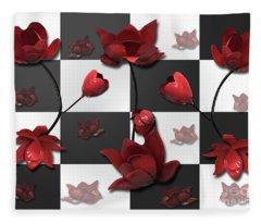 Burnt Crimson Flora Fleece Blanket