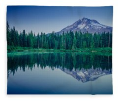 Burnt Lake Reflection Fleece Blanket