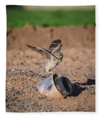 Burrowing Owlet Stretching His Wings Fleece Blanket