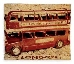 Buses Of Vintage England Fleece Blanket