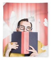 Businessman Studying Stats And Data Statistics Fleece Blanket