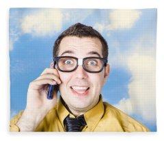 Businessman Talking The Talk. Cloud Background Fleece Blanket