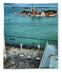 Piazza San Marco And San Giorgio Di Maggiore From The Bell Tower In Venice, Italy Fleece Blanket