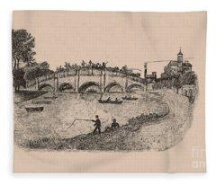 Busy Richmond Bridge And Fishermen Fleece Blanket