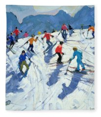 Busy Ski Slope Fleece Blanket