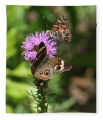 Butterflies And Purple Flower Fleece Blanket