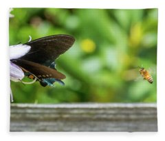 Butterfly And Bee Fleece Blanket