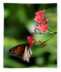 Butterfly And Blossom Fleece Blanket