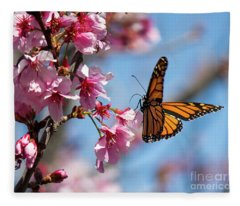 Butterfly And Cherry Blossoms Fleece Blanket