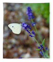 Butterfly And Lavender Fleece Blanket