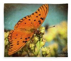 Butterfly Enjoying The Nectar Fleece Blanket