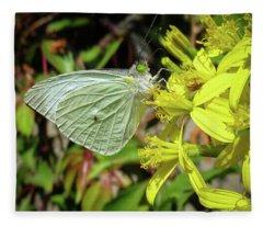Butterfly Feasting On Yellow Flowers Fleece Blanket
