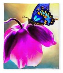 Butterfly Floral Fleece Blanket