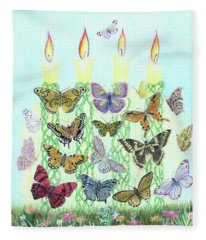 Butterfly Flutter With Candles Fleece Blanket