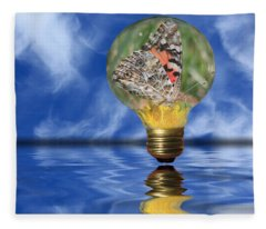 Butterfly In Lightbulb - Landscape Fleece Blanket