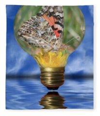 Butterfly In Lightbulb Fleece Blanket