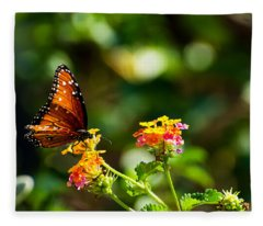 Butterfly On A Flower Fleece Blanket
