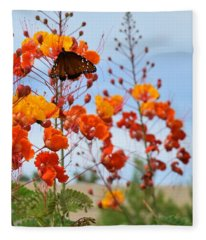 Butterfly On Bird Of Paradise Fleece Blanket