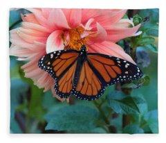 Butterfly On Dahlia Fleece Blanket