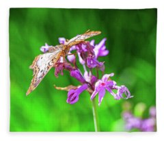 Butterfly On Flower With Green Background Fleece Blanket
