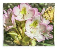 Butterfly On Wild Rhododendron Flower. Fleece Blanket