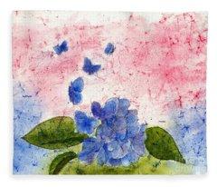 Butterflies Or Hydrangea Flower, You Decide Fleece Blanket