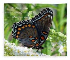 Butterfly Psalm 92 Scripture Fleece Blanket
