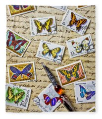 Butterfly Stamps And Old Document Fleece Blanket