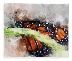 Butterfly Watercolor Fleece Blanket