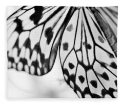 Butterfly Wings 3 - Black And White Fleece Blanket