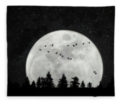 Fleece Blanket featuring the photograph By The Light Of The Silvery Moon - Birds  by Andrea Kollo