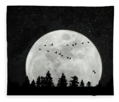 By The Light Of The Silvery Moon - Birds  Fleece Blanket