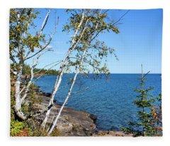 By The Shores Of Gitche Gumee Fleece Blanket