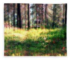 Cabin In The Woods In Menashe Forest Fleece Blanket
